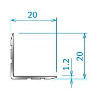 Penn Elcom 0121 Hoekprofiel 20x20x1.2mm